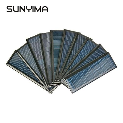 SUNYIMA 10Pcs 5.5V 65MA Polycrystalline Solar Panel Poly Battery Charger Photovoltaic Cell For DIY Solar Sunpower System 90*30mm