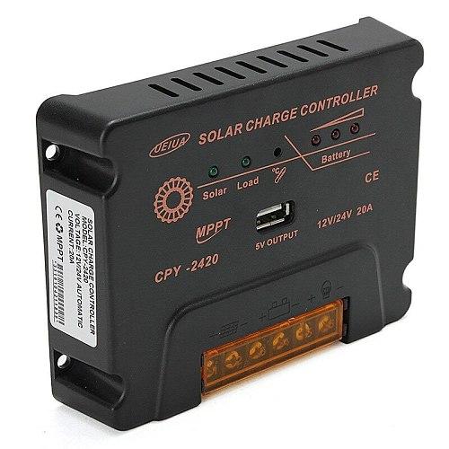 20A 10A MPPT Solar Charge Controller 12V/24V Battery Panel Regulator Charger With USB 5V Output Max PV Input Voltage 50V