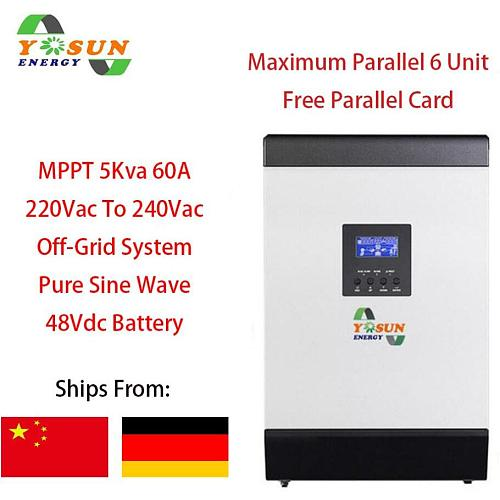 60A MPPT Solar Inverter 4000W Off Grid Inverter 5Kva 48Vdc 220Vac Hybrid Inverter Pure Sine Wave Inverter 60A Battery Charger
