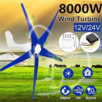Wind Power Turbines Generator 8000W 12/24V  3/5 Blades Wind Blade Option With Wind Charge Controller Fit for Home Or Camping ect