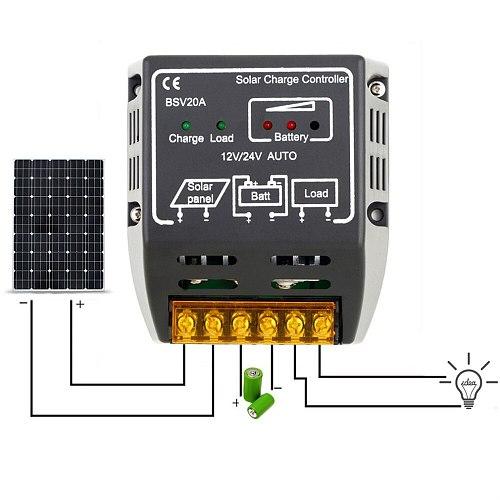 Newest 20A 12V/24V Solar Panel Charge Controller Battery Regulator Safe Protecting Solar Regulator For Solar Panel System Use