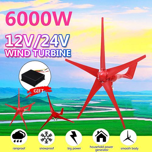 6000W 5 Blades Wind Turbines Generator 12V/24V Option With Wind Controller for Home Camping Streetlight Mounting accessorie