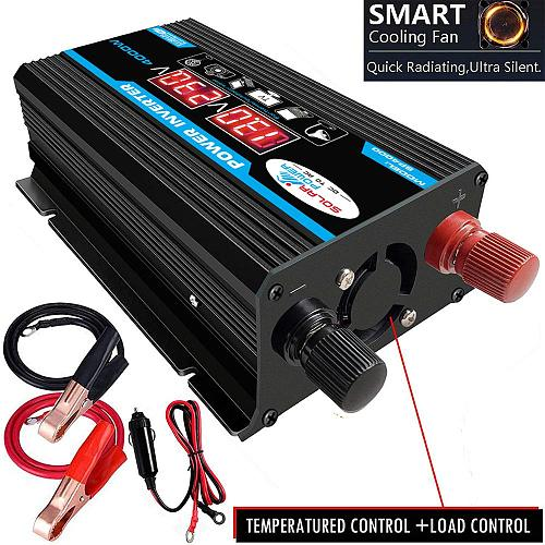 Car Inverter 12V 220V 4000W Max Inverter Voltage Convertor Transformer 12V To 110V/220V Inversor + LCD Display 2 USB