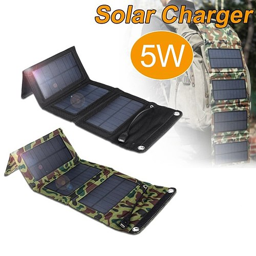 1 Piece Foldable 5W USB Portable Folding Devices  Solar Power Battery Charger Leather Solar Panels