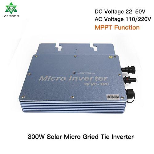 300W Micro Inversor Solar MPPT Grid Tie Inverter Microinverter 24V 220V Pure Sine Wave Inverter 22-50VDC Wtih 1 Year Warranty