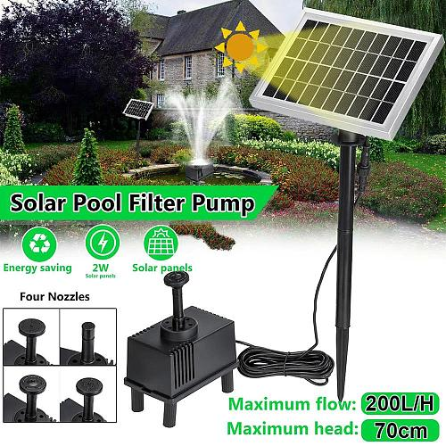Solar Fountain Pump 1.8W Solar Powered 16.4ft Cable with 4 Nozzles for Bird Bath Pond Patio Pool landscaping, gardens and water