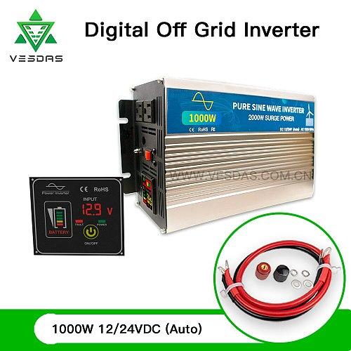 1000W Off Grid Tie Inverter Pure Sine Wave Home Wind Turbine Solar Inversor 110V 220V With Screen Switch for 12V 24V Battery