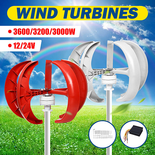 3600/3200/3000W  Wind Turbines Generator Lantern 5 Blades Motor Kit 12/24V Vertical Axis For Home Hybrid Streetlight+Controller