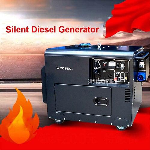 WEC6500J Portable Small Household Diesel Generator Set Pure Copper Silent Generator 5KW Single Phase Generator Set 110V/220V 16L