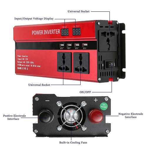 5000W DC 12V to AC 220V Solar Inverter LED Display Power Inverter for Car Household Appliances Voltage Transformer Converter