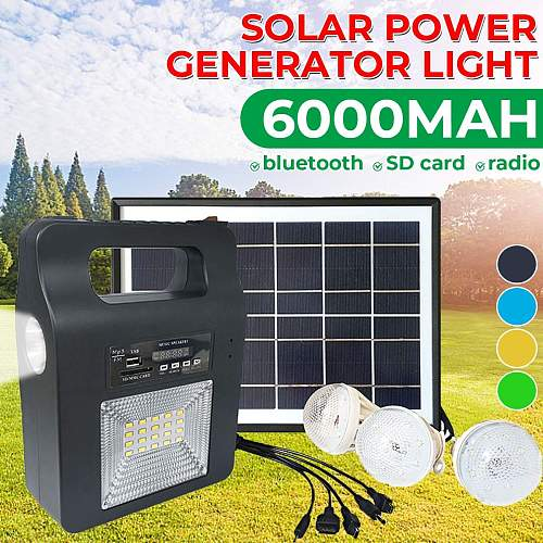 5W USB Charger Home System Solar Power Panel Generator Kit FM bluetooth Speaker with 6V 3 LED Bulbs Light Outdoor Lighting