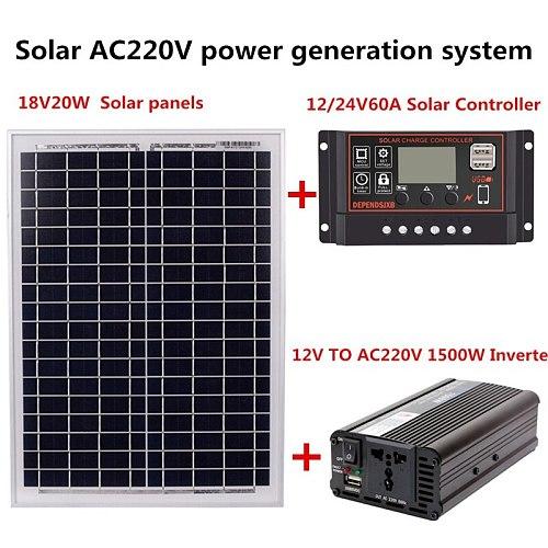 18V20W Solar Panel +12V / 24V Controller + 1500W Inverter Ac220V Kit, Suitable For Outdoor And -Home Ac220V Solar Energy-Saving