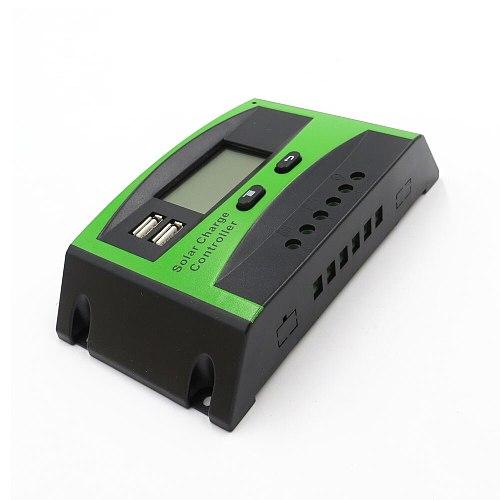 60/50/40/30/20/10A 12V 24V PWM Solar cell panel battery Charge Controller Regulator LCD Display USB 5V Mobile Phone Charger