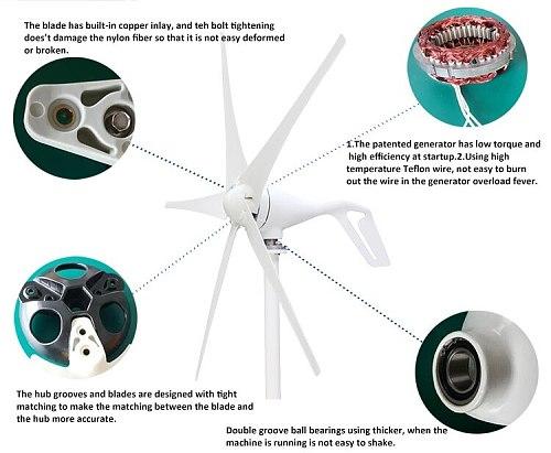 400W wind Permanent Generator Turbine Wind Generator 12V/24V Wind Generator wind Turbine wiatrak Max 600W DC 12V/24V Household