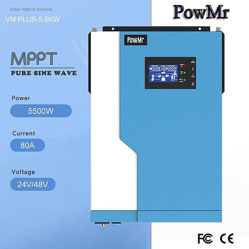 PowMr 5500W MPPT 100A hybrid inverter Pure Sine Wave  48V 11000VA 220V-240V 50Hz 60Hz Auto Priority Setting With Wifi modle