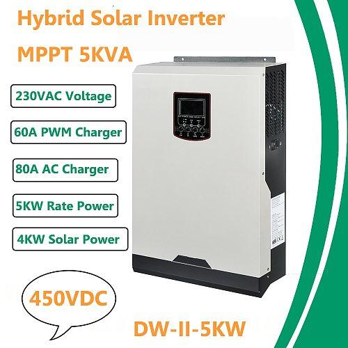 Solar Inverter 450Vdc 5000W 80A MPPT 48V 220V Off Grid Inverter 5Kva Pure Sine Wave Inverter 60A Battery Charger