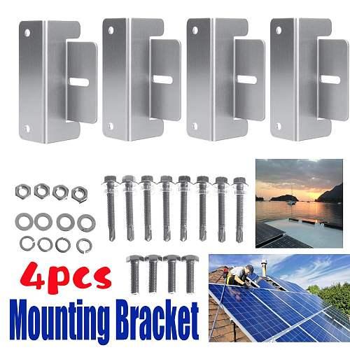 4Pcs Aluminum Solar Panel Mounting Brackets Z-Shaped Z Bracket Fixing Set for Motorhome Caravan Roof
