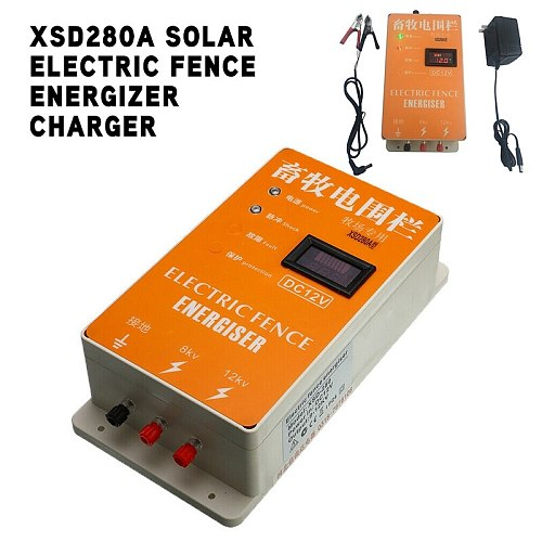 XSD280A Solar Electric Fence Energizer Charger High Voltage Pulse Display Screen Solar Power Parts Electronic Fence Detector