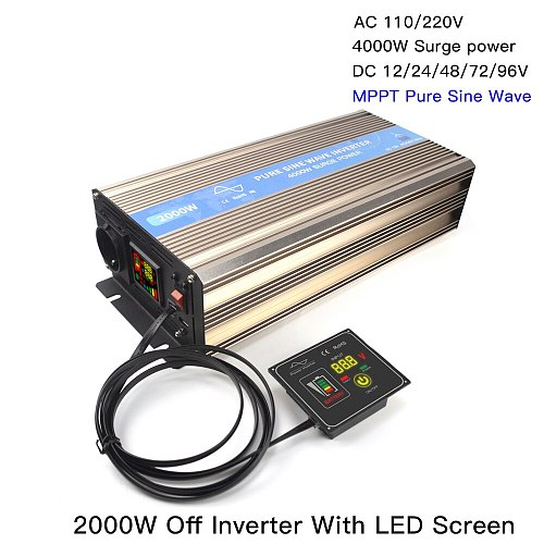 2000W MPPT Off Pure Sine Wave Inverter Solar Wind Power Hybrid Inversor 12/24/48V/72/96V With LED Screen Switch for 110V 220V
