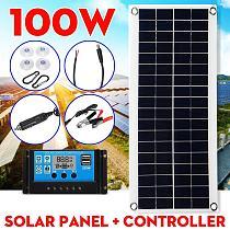 100W 18V Portable Solar Panel Dual USB Power Bank With 30A PWM Controller Crocodile Clips Car Charger polycrystal Solar Cells
