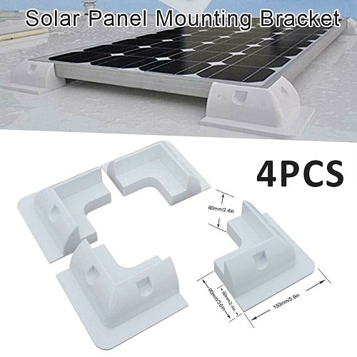 4X White Solar Panel Mounting Fixing Bracket Kit for Caravans Camper RV Home Improvement Accessories