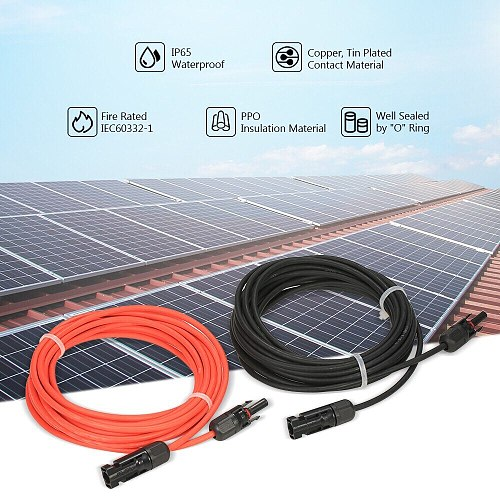 1 Pair Solar Panel Extension Cable Copper Wire Black and Red with Connector Solar PV Cable 6/4/2.5 mm2 10/12/14 AWG