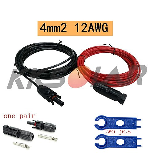 4mm2 12AWG black & red Solar PV Copper Cables Wires with Connector solar Panel Extension Cable for solar panel kit Accessories