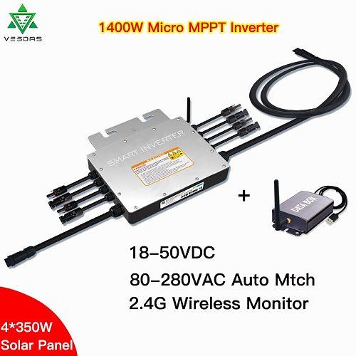 1400W IP65 Solar Grid Tie Micro Inverter SG1400 MPPT Microinverter Inversor 24V 36V DC 110V 220VAC  For 4*350 Solar Panels