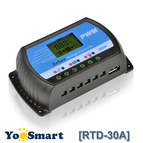PWM 30A Solar Charge Controller 12V 24V LCD Display USB 5V Solar Panel Charge Regulator RTD-30A Y-Solar