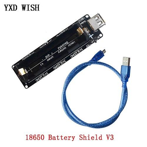 Dual 18650 Lithium Battery Shield V3 3V1A 5V 3A 18650 Micro USB Power Bank Battery Charger Module For Raspberry Pi ESP8266 ESP32