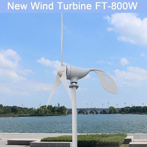 800W 12V 24 V Volt 3 Nylon Fiber Blade Horizontal Home Wind Turbine Wind Generator Power Windmill Energy with PWM controller
