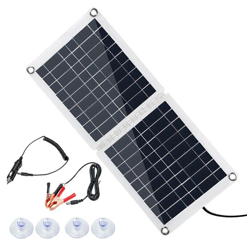 Waterproof 60W 18/12/5V Solar Panel Dual USB Controller for Car Boat Battery Charge Camping