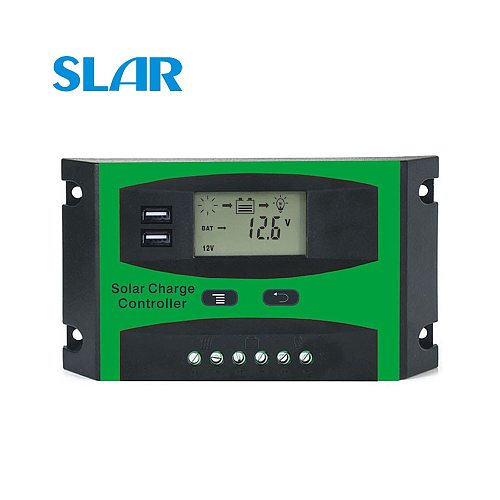 Solar Controller 10A 20A 30A 12/24V Solar System generator Battery Cell Panel Charger Regulator with two USB 5V