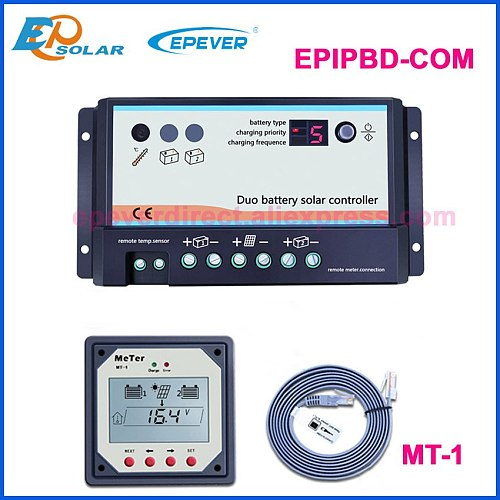 EPever 20A 10A Dual Battery Solar Controller 12V 24V High efficient PWM Charging Regulator Opt Remote Display MT-1 Temp Cable