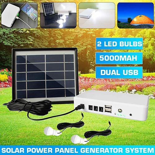 Solar Panel Generator Lighting Kit USB Solar Charger with 2 LED Light Bulb Emergency Light +5V 1.5A Output Phone Charger