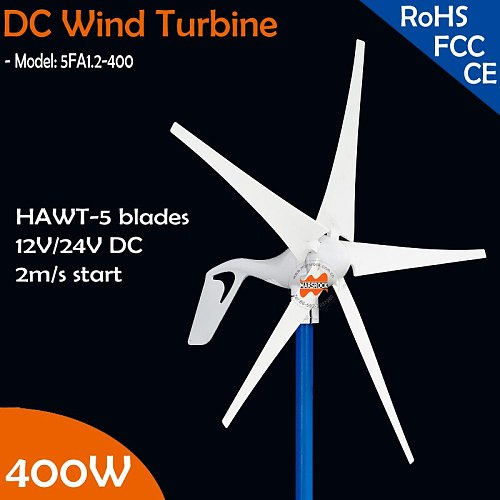 Free shipping! 12V or 24VDC auto Match 5 blades 400W Wind Turbine Generator with built-in Charge Controller