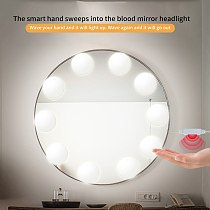 Makeup Mirror Light Led Touch Dimming Vanity Dressing Table Lamp Bulb 10 LED Bulb USB 5V Hollywood Make Up Mirror Wall Lamp