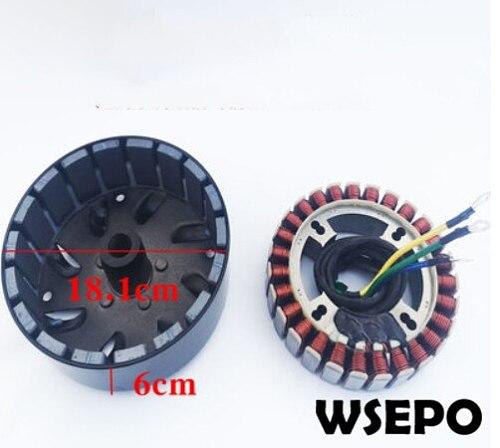 3000 Watt 27 Pole Voltage Customized(48V/60V/72V) Stator and Rotor Kit for DC Generator fits on 19mm tapered 41mm output shaft