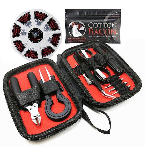 Vape Tool Set Bag Prebuilt Coil Vape Cotton Wire Coil Jig Winding Tweezers for Electronic Cigarette RBA RDA Atomizer Accessories