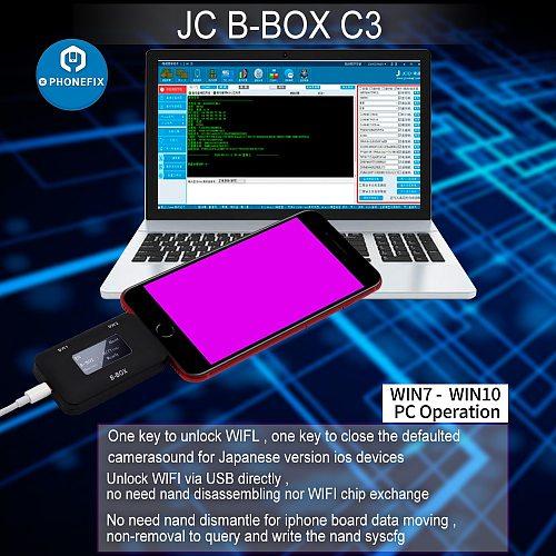 JC B-BOX C3 DFU One Key to Purple for IOS A7-A11 for iPhone & iPad Unlock WIFI Modify NAND Syscfg Data Same as Window DCSD Cable