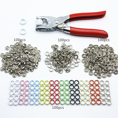 100 Sets of Colored Five-jaw Buckle With Hand Pressure Clamp Tool for Home DIY Repair Clothing Store