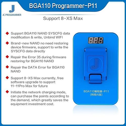 JC P11 BGA110 NAND Programmer For iPhone 8 8P X XR XS XSMAX NAND Flash For Apple NAND SYSCFG  Read Write Free use and C2 DFU BOX
