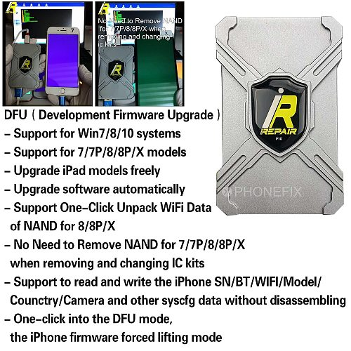 iRepair P10 DFU BOX for iPhone 6 7 8 X Serial Number Read Write One-Click Unpack WiFi and All Other Syscfg Data No Disassembling