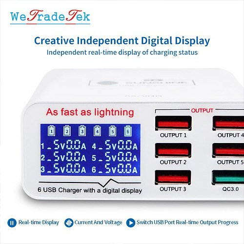 SS-304Q 6 Ports USB Quick Charge 3.0 Digital Display Fast Charging Device for Phone Andorid iPad Tablet Fast Charger