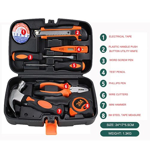 Hand Tool Set General Household Repair Kit with Plastic Toolbox Storage Case Wrench Screwdriver Knife