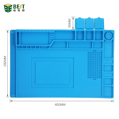 45x30cm Heat Insulation Silicone Pad Desk Mat Maintenance Platform for BGA Soldering Repair Station with Magnetic Section