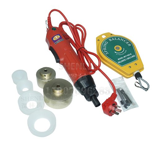110V bottle capping machine, hand held electrical capping machine, plastic bottle caper, 10-30mm 2 silicone chucks Red 30kg/fcm