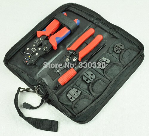 Hand Crimping Tool Set crimping tool kit with cable stripper and cutter,screwdriver and 4 replaceable die sets