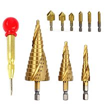 Step Drill Bit Set Including 3PCS HSS Spiral Grooved Drills 4mm to 12mm/20mm/32mm and 6PCS 6.3-20.5mm 90° HSS Countersink Bits a