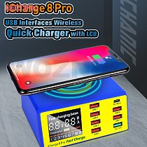 MECHANIC iCharge 8 Pro 8USB smart charge QC 3.0 Wireless charge Wireless charging with LCD display for Mobile phone charging